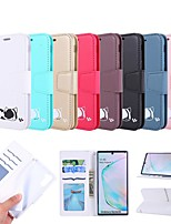 cheap -Case For Samsung Galaxy S10E / Note 10 Plus / J6 Plus Wallet / Card Holder / with Stand Full Body Cases Cat / Solid Colored PU Leather For Galaxy J4 Plus/S9/S10/S10 Plus/J4 2018