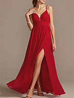 cheap -Sheath / Column Elegant Red Holiday Prom Dress Spaghetti Strap Sleeveless Floor Length Satin with Pleats Split 2020