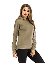 cheap -Women's Hoodie Solid Colored Casual Army Green S M L XL