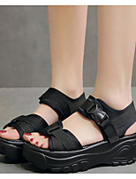 cheap -Women's Sandals Wedge Sandals Summer Creepers Open Toe Daily PU Black / Red