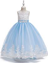 Недорогие -Дети Девочки Симпатичные Стиль Однотонный Кружева Вышивка Сетка Без рукавов Макси Платье Белый