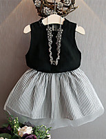 cheap -Kids Girls' Active Basic School Festival Black & Gray Striped Solid Colored Print Sleeveless Regular Regular Clothing Set Black