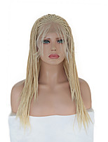 cheap -Synthetic Lace Front Wig Box Braids Plaited with Baby Hair Lace Front Wig Blonde Pink Long Blonde Synthetic Hair 16 inch Women's Soft Party Women Blonde Pink