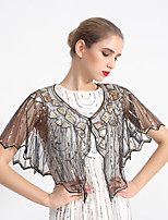 cheap -Short Sleeve Capes POLY Wedding / Party / Evening Women's Wrap With Pattern / Paillette
