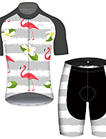 cheap -21Grams Men's Short Sleeve Cycling Jersey with Shorts Gray+White Flamingo Floral Botanical Bike UV Resistant Quick Dry Sports Flamingo Mountain Bike MTB Road Bike Cycling Clothing Apparel / Stretchy