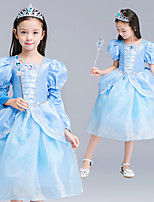 cheap -Princess Cinderella Dress Flower Girl Dress Girls' Movie Cosplay A-Line Slip Blue Dress Children's Day Masquerade Tulle Polyester