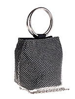 cheap -Women's Crystals / Chain Polyester Evening Bag Solid Color Black