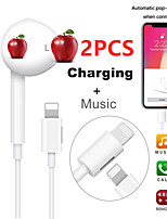 cheap -2PCS In Ear Wired Bluetooth Earphone 2-IN-1 with Microphone Charge Sport Earphones for iPhone Headset Earbuds for iPad