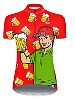 cheap -21Grams Women's Short Sleeve Cycling Jersey Polyester Red / Yellow Funny Oktoberfest Beer Bike Jersey Top Mountain Bike MTB Road Bike Cycling Breathable Quick Dry Ultraviolet Resistant Sports