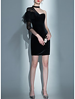 cheap -Mermaid / Trumpet Little Black Dress Black Party Wear Cocktail Party Dress One Shoulder 3/4 Length Sleeve Short / Mini Velvet with Lace Insert 2020