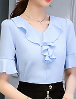 cheap -Women's Solid Colored Blouse Daily V Neck White / Blushing Pink / Light Blue