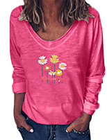 cheap -Women's Floral Sun Flower T-shirt Daily V Neck White / Blue / Red / Yellow