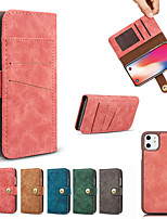 cheap -Case For APPLE  5s 6 6plus 7 8 SE 7plus 8plus XR XS XSMAX  X 11 11Pro 11ProMax Card Holder Shockproof Flip Full Body Cases Solid Colored magnetic split PU Leather TPU