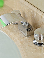 cheap -Bathroom Sink Faucet - LED / Widespread / Waterfall Chrome Deck Mounted Two Handles Three HolesBath Taps
