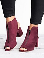 cheap -Women's Sandals Summer Cuban Heel Open Toe Daily Suede Burgundy / Black / Gray