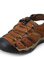 cheap -Men's Summer Outdoor Sandals Leather Non-slipping Light Brown / Light Green / Brown