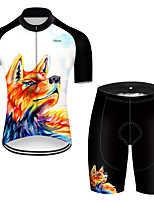 cheap -21Grams Men's Short Sleeve Cycling Jersey with Shorts Polyester Black / Orange Gradient Animal Wolf Bike Clothing Suit Breathable Quick Dry Ultraviolet Resistant Reflective Strips Sweat-wicking Sports