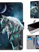 cheap -Case For LG Q70 / LG K50S / LG K40S Wallet / Card Holder / with Stand Full Body Cases Pensive Wolf PU Leather / TPU for LG K30 2019 / LG K20 2019