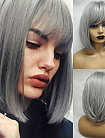 cheap -Synthetic Wig Straight Matte Bob Neat Bang Wig Medium Length Grey Synthetic Hair 14 inch Women's Simple Classic Gray