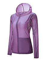 cheap -Women's Hiking Skin Jacket Hiking Jacket Summer Outdoor Waterproof Sunscreen Breathable Quick Dry Jacket Hoodie Top Running Hunting Fishing Light Purple / Fuchsia / Pink / Blue