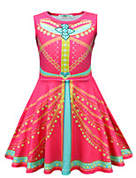 cheap -Princess Princess Jasmine Dress Flower Girl Dress Girls' Movie Cosplay A-Line Slip Red Dress Children's Day Masquerade Polyester