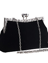 cheap -Women's Crystals / Chain Polyester Evening Bag Solid Color Red / Black