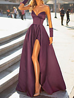 cheap -A-Line Elegant Minimalist Engagement Formal Evening Dress Sweetheart Neckline Sleeveless Floor Length Satin with Sleek Split 2020