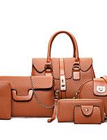 cheap -Women's Embossed PU Bag Set Bag Sets Lattice 6 Pieces Purse Set Black / Gold / Brown / Fall & Winter