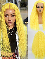 cheap -Synthetic Lace Front Wig Curly Middle Part Lace Front Wig Long Yellow Synthetic Hair 18-26 inch Women's Cosplay Soft Adjustable Yellow