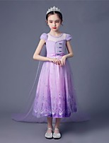 cheap -Princess Elsa Dress Flower Girl Dress Girls' Movie Cosplay A-Line Slip Purple Dress Children's Day Masquerade Tulle Polyester