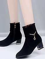 cheap -Women's Boots Summer Chunky Heel Pointed Toe Daily Suede Mid-Calf Boots Black
