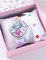 cheap -Women's Quartz Watches Flower New Arrival White Silicone Chinese Quartz White Chronograph Cute Creative 2 Piece Analog One Year Battery Life