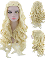 cheap -Synthetic Wig Curly Asymmetrical Wig Long Light golden Silver grey Synthetic Hair 18 inch Women's Fashionable Design Classic Women Silver Blonde