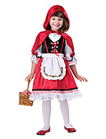 cheap -Little Red Riding Hood Dress Cloak Outfits Girls' Movie Cosplay Cosplay Red Dress Apron Cloak Children's Day Masquerade Polyester