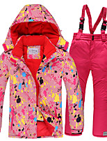 cheap -Girls' Ski Jacket Ski / Snow Pants Skiing Camping / Hiking Winter Sports Waterproof Windproof Warm Polyester Warm Top Warm Pants Clothing Suit Ski Wear / Kids