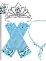 cheap -Princess Cinderella Princess Cosplay Jewelry Accessories Girls' Movie Cosplay Blue Gloves Crown Necklace Children's Day Masquerade Plastics / Wand