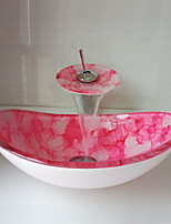 cheap -Boat Shape Pink Tempered Glass Vessel Sink with Waterfall Faucet Pop - Up Drain and Mounting Ring