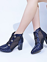 cheap -Women's Boots Spring &  Fall / Spring & Summer Chunky Heel Pointed Toe Daily Party & Evening Faux Leather / Mesh Blue