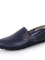 cheap -Men's Summer Casual Daily Loafers & Slip-Ons Cowhide / PU Non-slipping White / Black / Blue