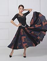 cheap -Ballroom Dance Dress Split Joint Crystals / Rhinestones Women's Training Performance Short Sleeve Chiffon Lace Lycra