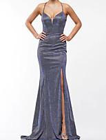 cheap -Mermaid / Trumpet Glittering Beautiful Back Engagement Prom Dress Halter Neck Sleeveless Sweep / Brush Train Sequined with Criss Cross Split 2020