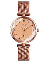 cheap -SKMEI Ladies Quartz Watches Minimalist Fashion Black Blue Rose Gold Stainless Steel Chinese Quartz Rose Gold White Black Water Resistant / Waterproof Calendar / date / day New Design 30 m 1 pc Analog