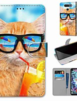 cheap -Case For LG Q70 / LG K50S / LG K40S Wallet / Card Holder / with Stand Full Body Cases Drink Soda Cat PU Leather / TPU for LG K30 2019 / LG K20 2019