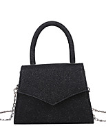 cheap -Women's Sequin / Chain Polyester / PU Top Handle Bag Leather Bags Solid Color Black / Khaki / Gray / Fall & Winter