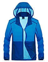 cheap -Men's Hiking Skin Jacket Hiking Jacket Summer Outdoor Waterproof Sunscreen Breathable Quick Dry Jacket Hoodie Top Running Hunting Fishing Navy Blue / Grey / Dark Navy / Dark Blue