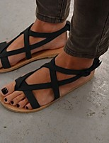 cheap -Women's Sandals Flat Sandal Summer Flat Heel Round Toe Daily Suede Black / Brown