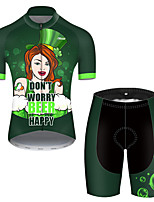 cheap -21Grams Men's Short Sleeve Cycling Jersey with Shorts Polyester Black / Green Polka Dot Oktoberfest Beer Bike Clothing Suit Breathable Quick Dry Ultraviolet Resistant Reflective Strips Sweat-wicking