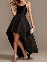 cheap -A-Line Minimalist Black Engagement Cocktail Party Dress Spaghetti Strap Sleeveless Asymmetrical Satin with Pleats 2020