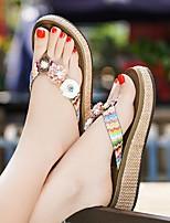 cheap -Women's Sandals Wedge Sandals Flat Sandals Summer Flat Heel Open Toe Daily PU Almond / Black