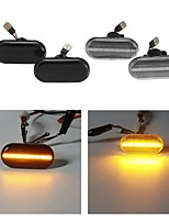 cheap -Pair LED Side Marker Lights Repeaters Turn Lamps Yellow for Renault Nissan Opel Smart